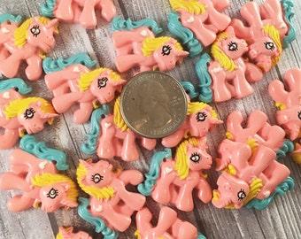 Pony flatbacks - Pony resins - Cute little pony - Unicorn resin - Pink and blue unicorn - Be a unicorn - Craft supplies - Bow flatback