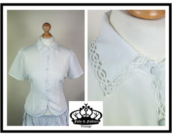 70s / 80s Celtic Lace / Cut Out Detailed, White Short Sleeved Blouse, Silky, Lacy, Prim, Size M