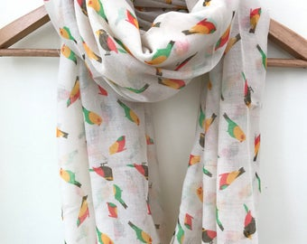 SALE- Womens scarf, Parakeets scarf, parrot scarf, birthday gift, bird scarf, bird watcher gift, bird watcher scarf, summer scarf, beach sca