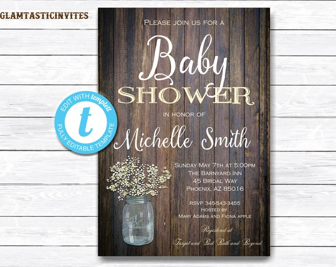 RUSTIC BABY SHOWER Invitation, Flower Baby Shower Invitation, Wood Baby Shower Invitation, Country Baby Shower, Instant Download, Rustic