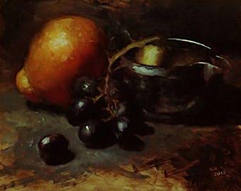 tangelo & grapes - original oil painting
