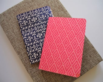 Ikat design hand-bound notebooks in pink and blue for Mother's Day--set of 2