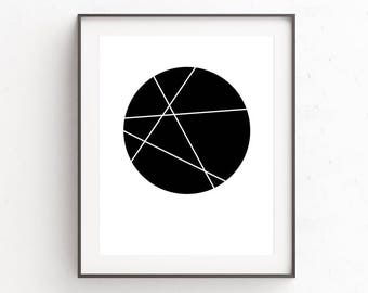 Scandinavian Style, Black Wall Decor, Modern Abstract Geometric Art Prints, Minimalist Geometric Wall Art, Minimal Modern Prints, Artwork