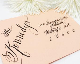 """Wedding Calligraphy Envelope Addressing/Save the date/Envelope Addressing/Hand Lettering/ Custom Wedding Address """"Jacqueline"""" Style"""