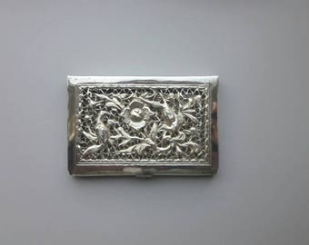 Elegant Jugendstill Business Card Holder Silver Plated