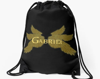 Supernatural Gabriel with Wings Drawstring Backpack, Bag, Totebag - Archangel