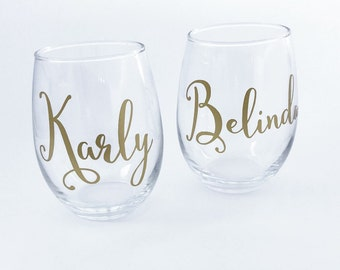 Bridesmaid Wine Glasses Personalized, Bridesmaid Gifts on a Budget- Will You Be My Bridesmaid - Bachelorette Party Gift Ideas