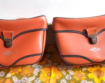 Orange bike panniers 1970 / BIA vintage bike / moped / solex / bicycle / bike accessory / cyclist gift.