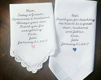Parents of the groom handkerchief CUSTOMIZABLE