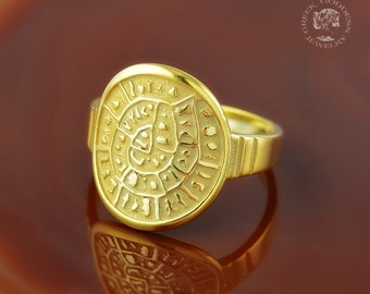 Phaistos Disc golden ring, antique ring, Phaistos Disc, Phaistos Disk, greek ring, ancient ring, greek jewelry, bohemian ring, boho ring