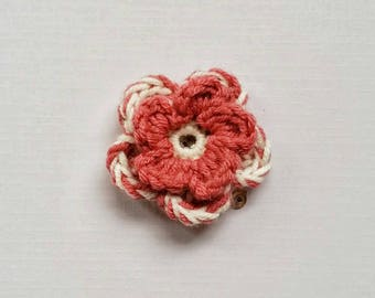 Crocheted Flower Hair Clip, Pink and white