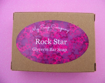 ROCK STAR Scent, Handmade Soap,Bar Soap, Glycerin Soap, Lush Soap, bridemaids gifts, Spa gift, fruity soap, Spa Party, Satsuma Soap, my soap
