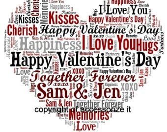 Personalised Heart Word Art Print * Love, Anniversary, Wedding Valentine's Day Gift Idea * Digital File Also Available
