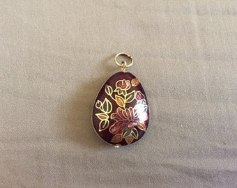 Vintage Gold and Maroon Cloisonne Floral Necklace Pendadnt