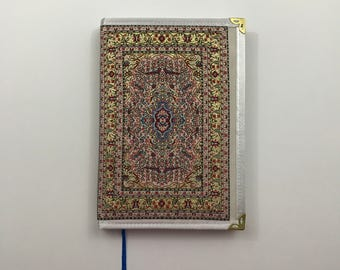 Large Notebook / Journal / Covered with fabric / Ottoman Pattern / Blank with lines