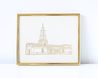 San Antonio Temple - Hand Drawn - REAL FOIL - Gold Foil Print - LDS - Illustration - Texas - Mormon - Home Decor - San Antonio