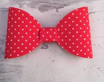 Red Polka Dot Hair Bow - Red and White Polka Dot Hair Bow - Vintage Bow - Girl's Headband - Girl's clip