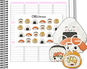 Kawaii Sushi Stickers | Planner Erin Condren Plum Planner Filofax Sticker