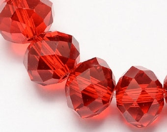 "Red 8x6mm Faceted Rondelle Glass Crystal Beads (15"" Strand)"