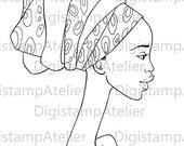 Afican Woman. INSTANT DOWNLOAD Digital Digi Stamps