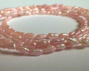 Delicate Vintage Pink Fresh Water Pearl Strung Necklace, d.1980s