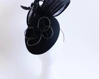 Handmade millinery black felt feather flower fascinator for Spring Racing