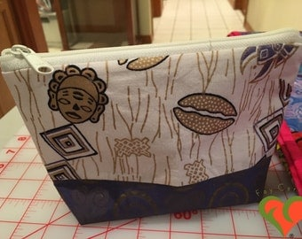 Designer Cosmetic/Jewelry Bag. Made with Kaffe Fassett and African Inspired Fabrics. One of a Kind.