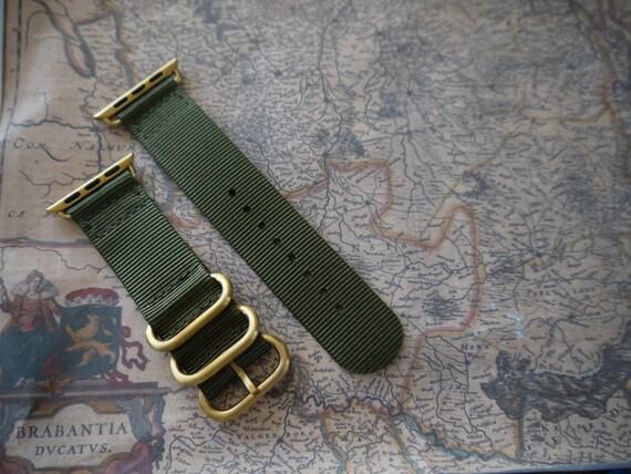 Apple watch original, series 1, series 2 band: Nato/zulu strap 2-pieceApple watch band (army green), Free Shipping Worldwide! Gold version!