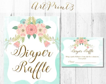 Diaper Raffle Printable Baby Shower Game, Gold Baby Shower Diaper Raffle Card, Rustic Baby Shower Card, Instant Download Baby Shower Game