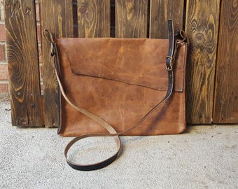 Leather Messenger Bag - Laptop Bag - Handmade - Crossbody Bag - Colorado - Ready To Ship - Horween Leather - Brown Leather - Black