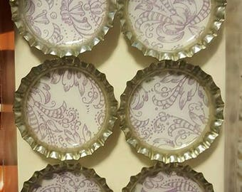 Purple and White Bottle Cap Magnets