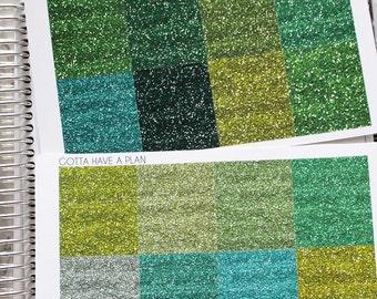 """Planner Stickers Green """"Glitter"""" Headers for Erin Condren, Happy Planner, Filofax, Scrapbooking"""