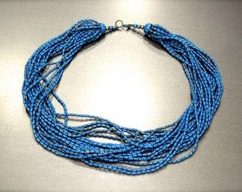 VINTAGE: 20 Strand Blue Enamel Metal Necklace - Blue Metal Choker - SKU 13-C2-00007726