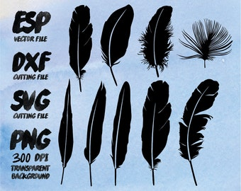 Feather Silhouette , SVG Cutting , ESP Vectors files , T shirt , iron on , sticker ,Personal Use
