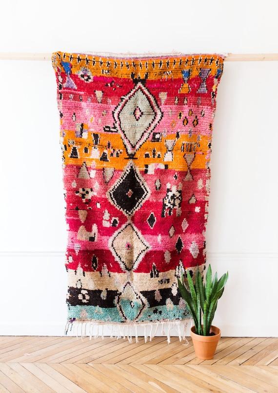 """Vintage Moroccan Berber Rug, """"The Tallulah,"""" Boujad Rug, Pink Rug, Red Rug, Faded Rug, Colorful Rug, Bohemian Decor, Boho Rug, Turkish Rug"""