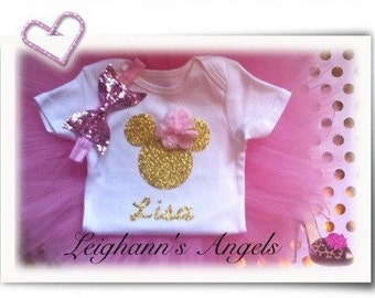 Pink and Gold Minnie Mouse Birthday Outfit