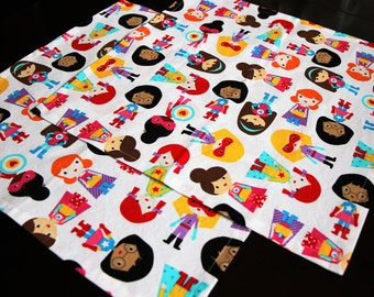 "2 Large Girl Superhero Cloth Dinner Napkins 16"" x 16"""