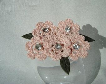 Crochet brooch, pink, corsage, badge,