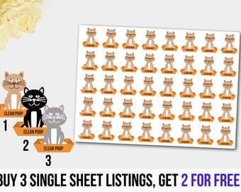 Clean Cat Box, Cat Tray Stickers, Planner Stickers