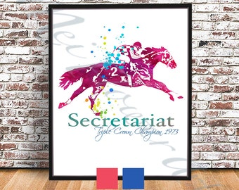 Big Red Secretariat PRINT, Secretariat Watercolor style POSTER, Race Horse painting, Triple Crown Champion Print, thoroughbred poster, decor