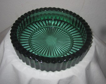 Forest Green Glass Ashtray, candy dish, bowl