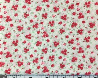 Red floral 1930's Reproduction Fabric
