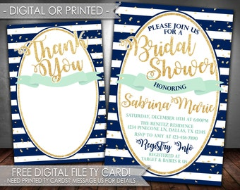 Navy and Gold Bridal Shower Invitation, Navy Teal Gold Bridal Shower Invitation, Navy Mint Gold Bridal Shower Invitation, #544
