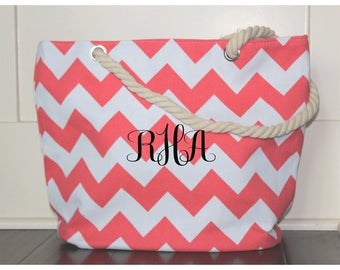 Beach Bag - Large Tote Monogram Beach Bag Chevron Beach Bag Tote Bag, Bridesmaid Gift Personalized Bag  Beach Bags Monogrammed Beach Bags