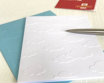 CLOUDS - Set of 6 Embossed Cards (No.53) - Pack of 6 White Blank Cards Suitable for Many Occasions