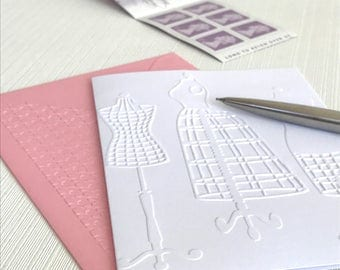 DRESSMAKER DUMMIES - Set of 6 Embossed Cards (No.48) - Pack of 6 White Blank Cards Suitable for all your Female Friends and Relatives
