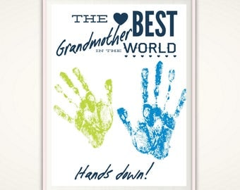 Best Grandmother Gifts, Grandmother Gift from GrandKids, Worlds Best Grandmother, Personalized Grandmother Gift from Kids, Handprint Art