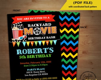 Movie backyard birthday bash invitation outdoor movie party chalkboard invite Instant Download YOU EDIT TEXT and print yourself invite 5726