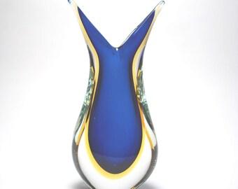 Murano Glass Cobalt and Amber FiFi Vase