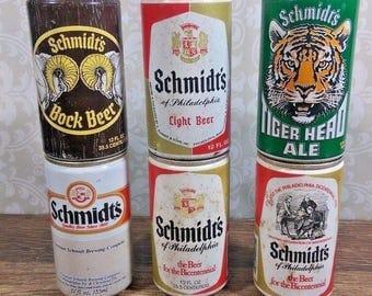 6) Vintage Schmidts Beer Cans 12 oz, Light, Tiger Head, Bock, Pull Tab